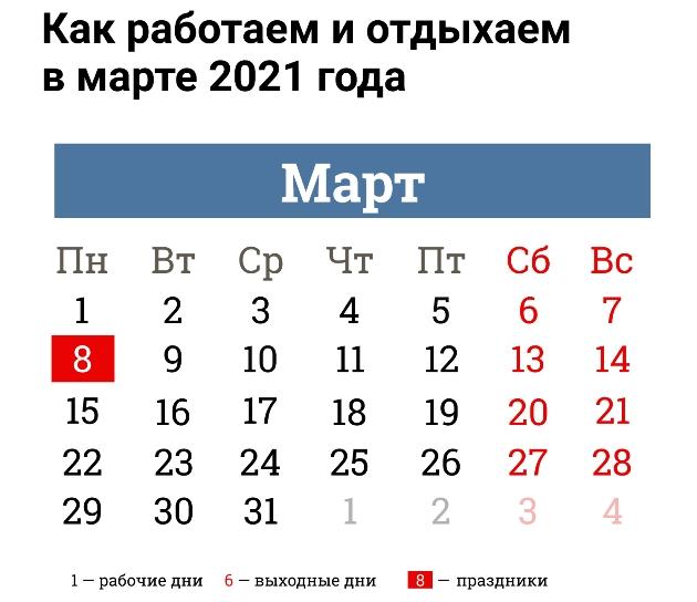 Выходные в марте 2021 как отдыхаем