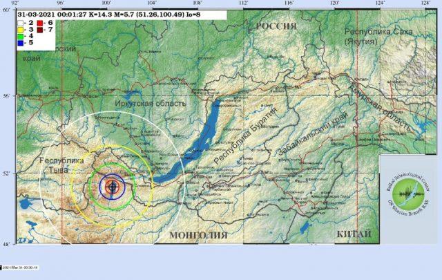 Землетрясение в Иркутске сегодня 31 03 2021 на карте